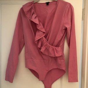JCrew small pink ruffled ballet bodysuit.